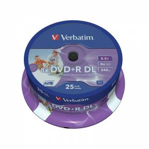 VERBATIM DVD+R 8,5GB 8x DoubleLayer PRINTABLE 25ks